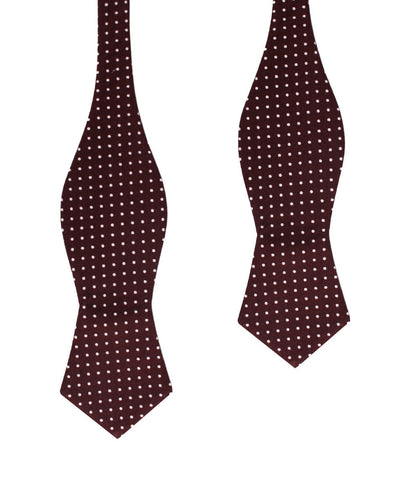 Burgundy Cotton Polkadot Diamond Self Bow Tie