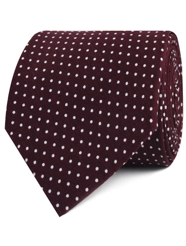 Burgundy Cotton Polkadot Tie