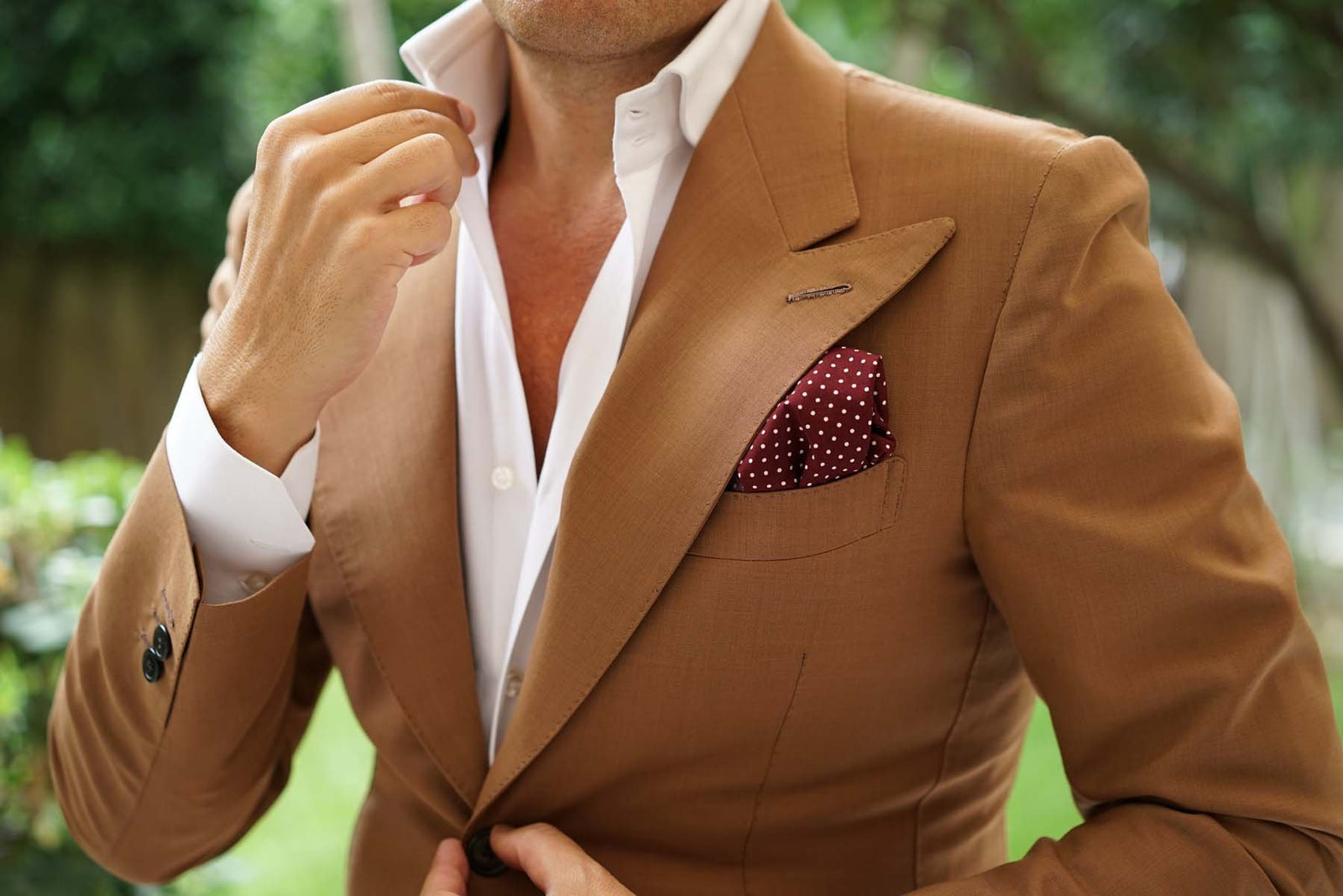 Burgundy Cotton Polkadot Pocket Square