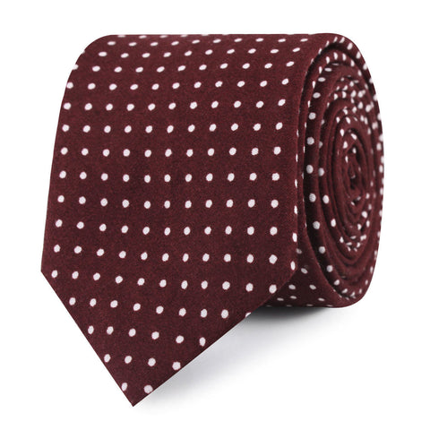 Burgundy Cotton Polkadot Skinny Tie