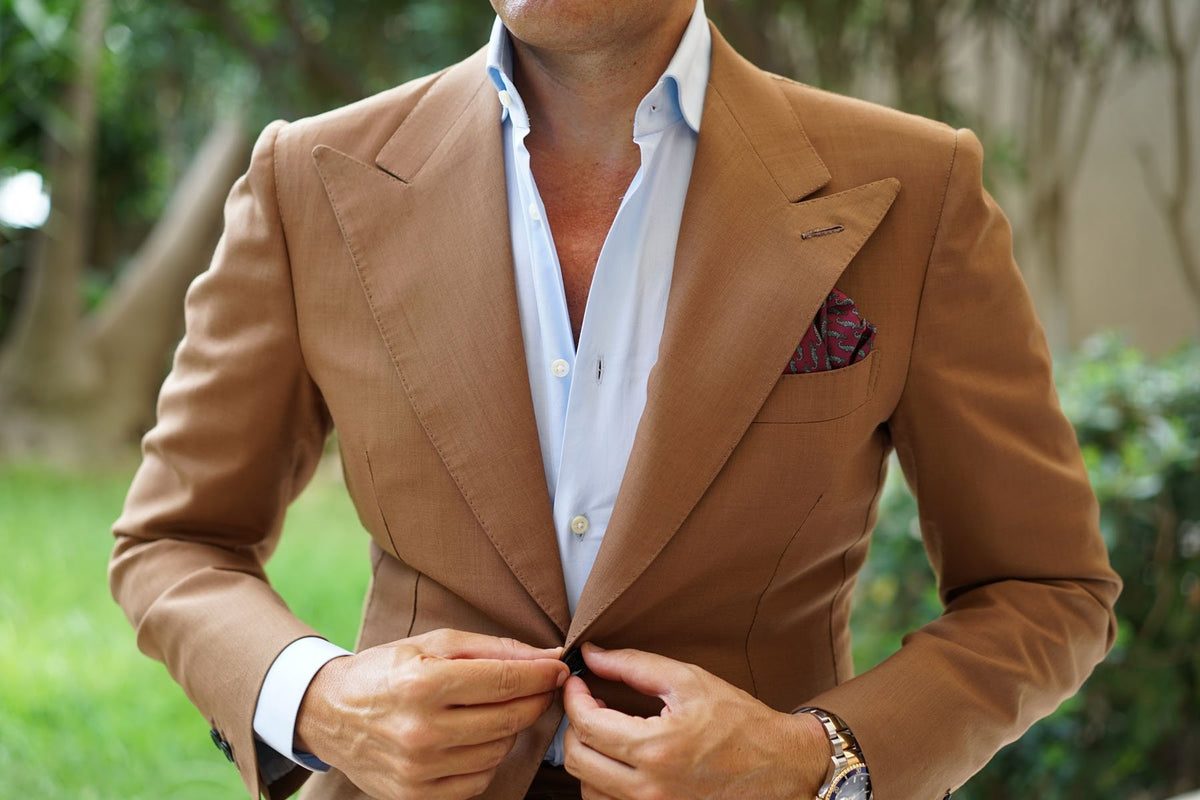 Burgundy Crocodile Dundee Pocket Square
