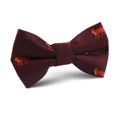 Burgundy Fox Kids Bow Tie