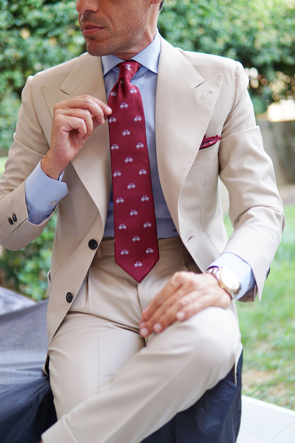 Burgundy French Bicycle Necktie