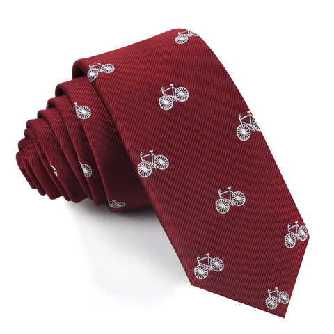 Burgundy French Bicycle Skinny Tie