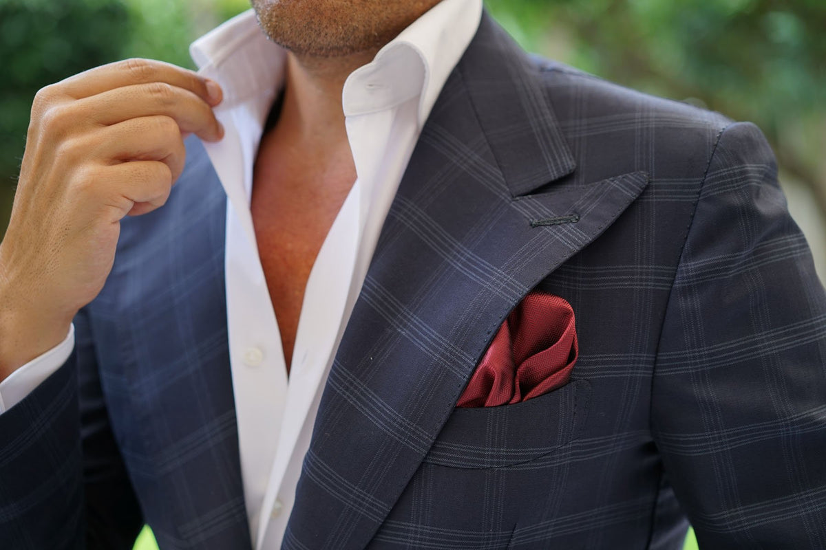 Burgundy Herringbone Pocket Square