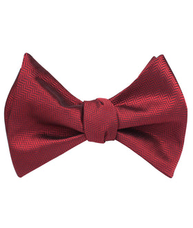 Burgundy Herringbone Self Bow Tie