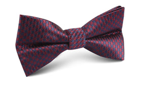 Burgundy Houndstooth Bow Tie