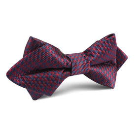 Burgundy Houndstooth Diamond Bow Tie