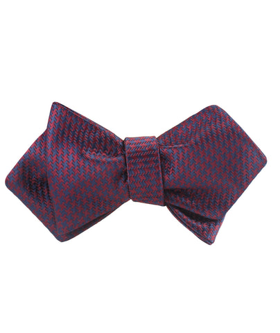 Burgundy Houndstooth Diamond Self Bow Tie