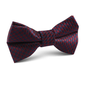 Burgundy Houndstooth Kids Bow Tie