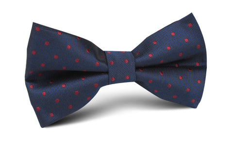 Burgundy Mini Dots on Navy Blue Bow Tie