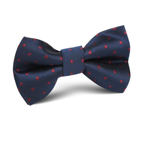 Burgundy Mini Dots on Navy Blue Kids Bow Tie