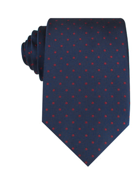 Burgundy Mini Dots on Navy Blue Necktie