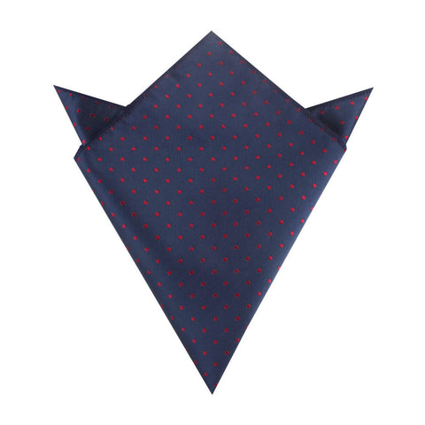 Burgundy Mini Dots on Navy Blue Pocket Square