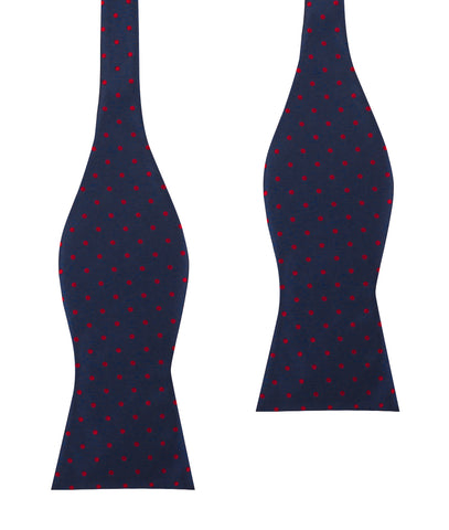 Burgundy Mini Dots on Navy Blue Self Bow Tie