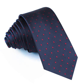 Burgundy Mini Dots on Navy Blue Skinny Tie