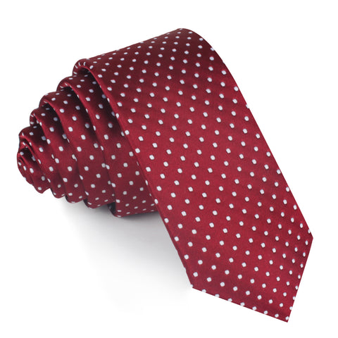 Burgundy Mini Polka Dots Skinny Tie