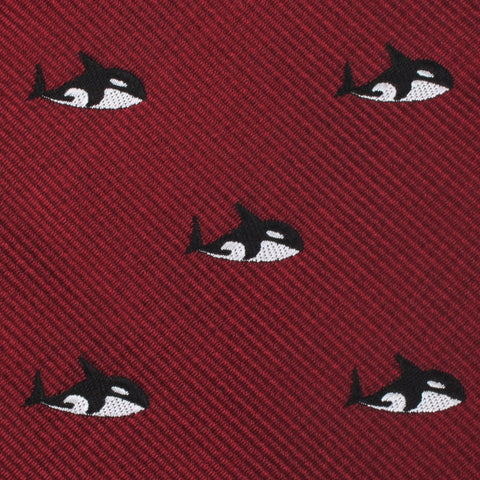Burgundy Minke Whale Pocket Square