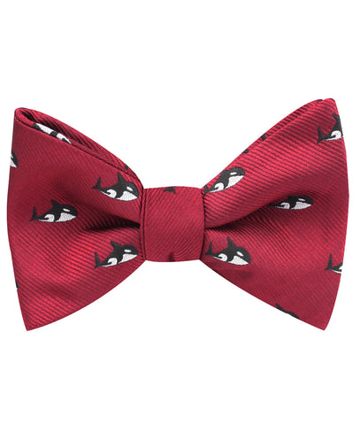 Burgundy Minke Whale Self Bow Tie