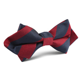 Burgundy & Navy Blue Stripes Diamond Bow Tie