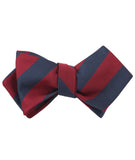 Burgundy & Navy Blue Stripes Diamond Self Bowtie