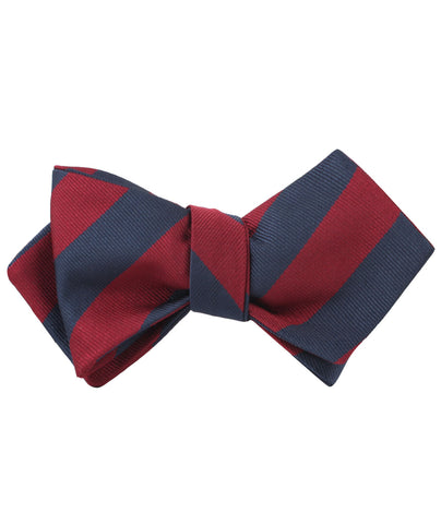 Burgundy & Navy Blue Stripes Diamond Self Bow Tie