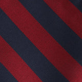 Burgundy & Navy Blue Stripes Fabric Skinny Tie