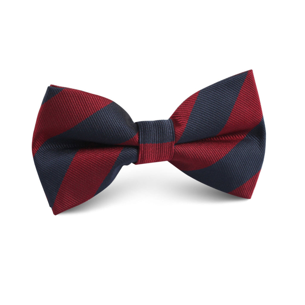 Burgundy & Navy Blue Stripes Kids Bow Tie