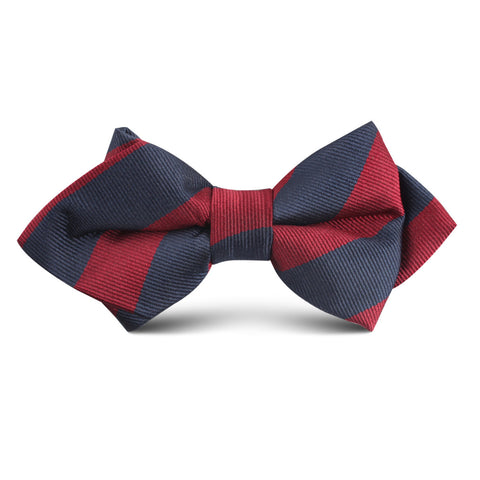Burgundy & Navy Blue Stripes Kids Diamond Bow Tie