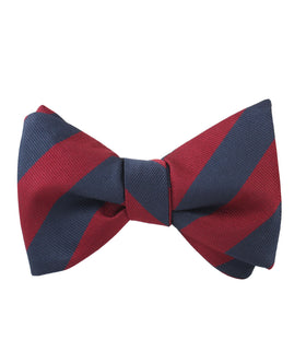 Burgundy & Navy Blue Stripes Self Bow Tie