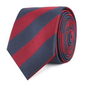 Burgundy & Navy Blue Stripes Skinny Tie