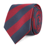 Burgundy & Navy Blue Stripes Slim Tie