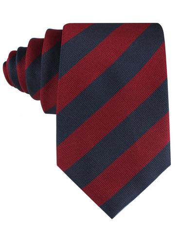 Burgundy & Navy Blue Stripes Tie