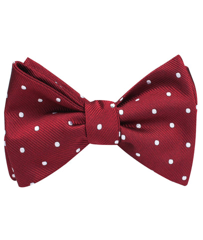 Burgundy Polka Dots Self Bow Tie