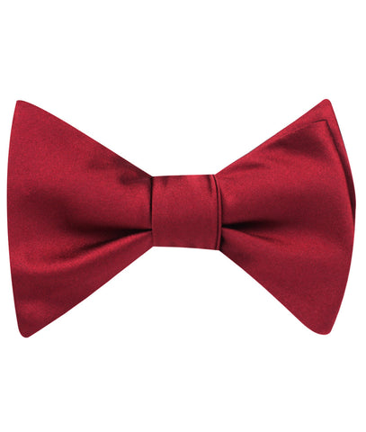 Burgundy Satin Self Bow Tie