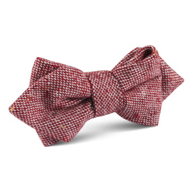 Burgundy Sharkskin Diamond Bow Tie