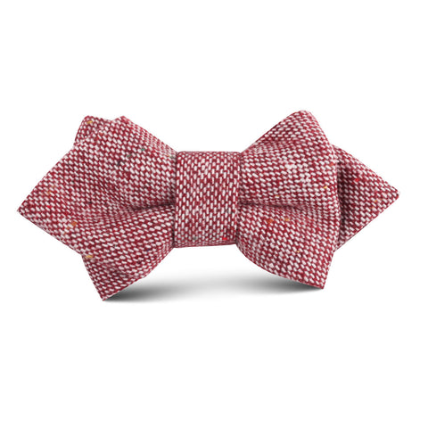 Burgundy Sharkskin Kids Diamond Bow Tie