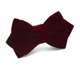 Burgundy Velvet Diamond Bow Tie