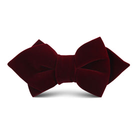 Burgundy Velvet Kids Diamond Bow Tie