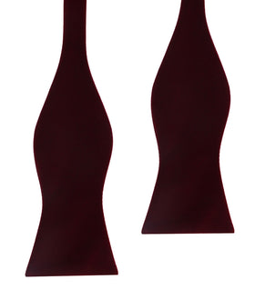 Burgundy Velvet Self Bow Tie