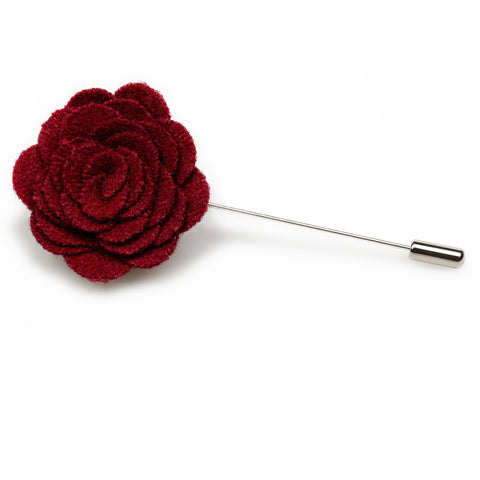 Burgundy Wool Flower Lapel Pin