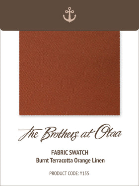 Burnt Terracotta Orange Linen Y155 Fabric Swatch