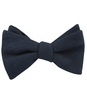 Burnt Boston Navy Blue Self Bow Tie