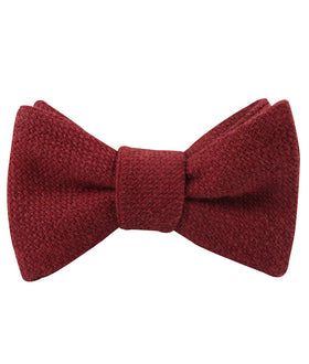 Burnt Burgundy Basket Weave Linen Self Bow Tie