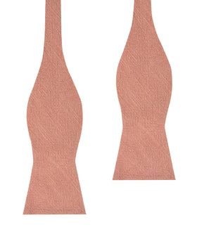 Burnt Coral Sunset Pink Chenille Linen Self Bow Tie