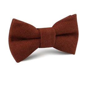 Burnt Golden Brown Linen Kids Bow Tie