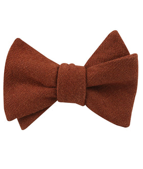 Burnt Golden Brown Linen Self Bow Tie