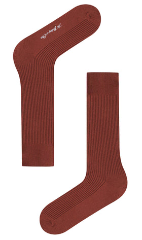 Burnt Golden Brown Ribbed Socks