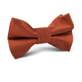 Burnt Orange Rust Weave Kids Bow Tie