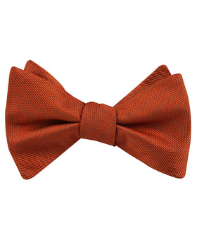 Burnt Orange Rust Weave Self Bow Tie